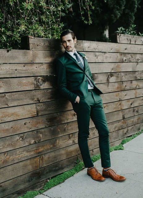 Stylish Green Men's Fashion Party Tuxedos 2017 Slim Fit Young Men Wedding Suits Custom Blazer With Pants ( Jacket+Pants+Tie)