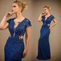 Marinha laço azul sereia vestidos de noite com V decote mangas cobertas frisada 2016 vestidos de noite formais vestidos