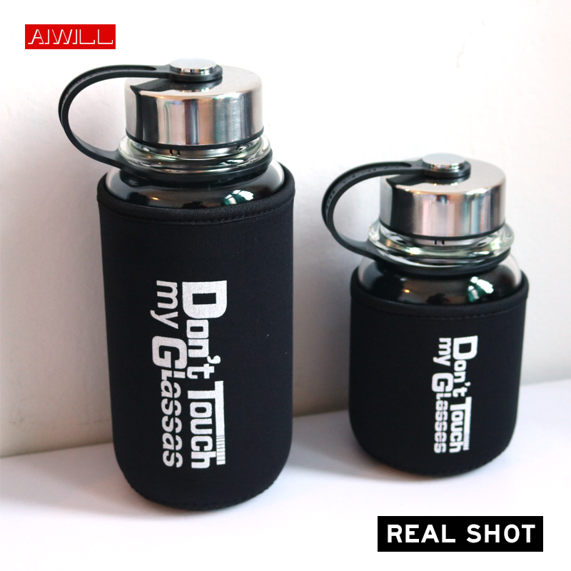 Ohwens Double Wall Glass Tea Bottle with Filter Tumbler Strainer Portable Water Bottle