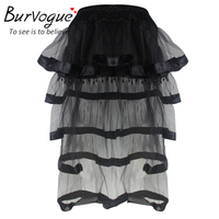 Burvogue Skirts 2016 Fashion Summer Tulle Skirts For Women Vestidos Perspective Long Maxi Skirts Black Sexy