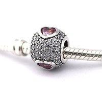 Tumbling Hearts Beads Charms Fit Fandola Diy Bracelets 925 Sterling Silver Pave Ball Crystal Beads For