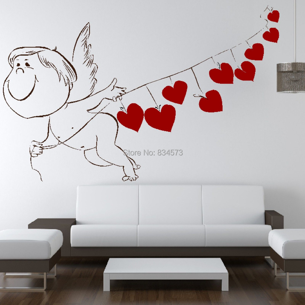 Eyes wall stickers wow modern beauty salon valentine wall decoration - Love Cupid Heart Romantic Valentine Wall Art Sticker Decal Diy Home Decoration Decor Wall Mural Removable