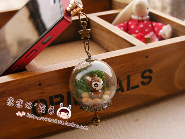 Zakka vintage cartoon onta glass bottle crystal ball pendant dust plug  for iphone   bell chain