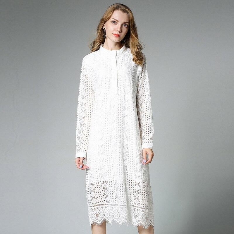 Women Long Eyelet Lace Midi Dress Autumn 2017 Long Sleeve Geometry Pattern Hollow Shift Dresses Plus Size XL to 4xl