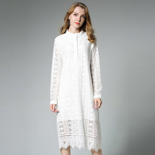 Women Long Eyelet Lace Midi Dress Autumn 2017 Long Sleeve Geometry Pattern  Hollow Shift Dresses Plus a9a3f3dceac4