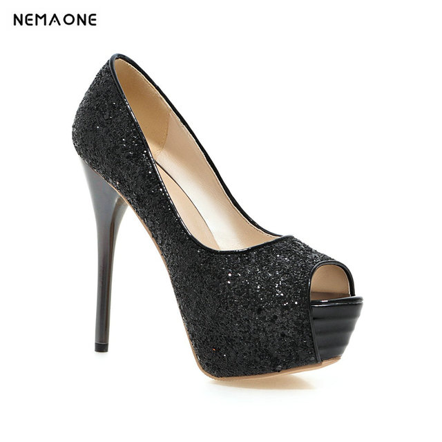 d0a571a3e6ae58 2019 NEW spring bling bling fashion woman shoes women peep toe stilettos high  heels 14cm platform party shoes
