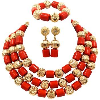 Fantastic Wedding Orange Red Artificial Coral Beads African Jewelry Sets New Dubai Bridal Jewelry Set Gift Free Shipping ACB-27