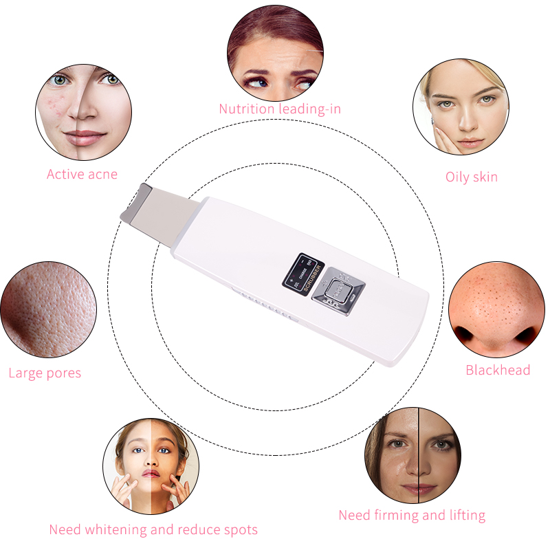 Ultrasonic Skin Scrubber Deep Face Cleaning Machine Remove Dirt Blackhead Reduce Wrinkles and spots Facial Whitening Lifting