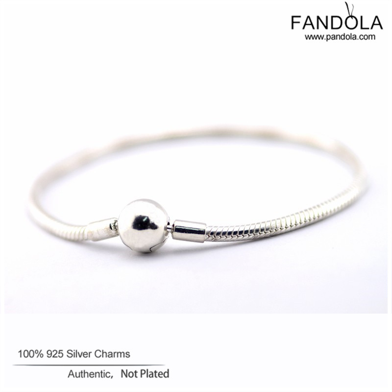 Sterling-Silver-Jewelry Round Clasp Charm Bracelet Bangle Female Snake Chain Bracelets For Women Silver 925 Jewelry Wholesale