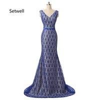 Валериана лекарственная старинные кружева вечерние платья высокое качество королевский синий вечернее платье Sexy v образным вырезом со шну