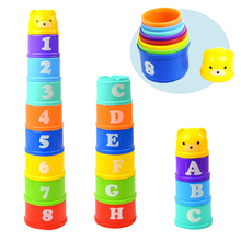 Купить с кэшбэком 8PCS Educational Baby Toys 6Month Figures Letters Foldind Stack Cup Tower Children Early Intelligence Alphabet Toy for Children