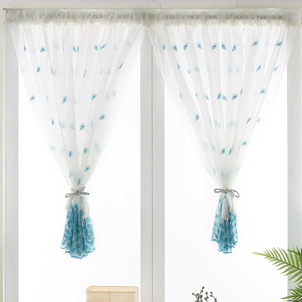 Embroidered Pink Peacock Sheer Curtains 120cm Long for Kitchen Windows Blue White Rod Pocket Short Sheer Voile Door Panel TM0283