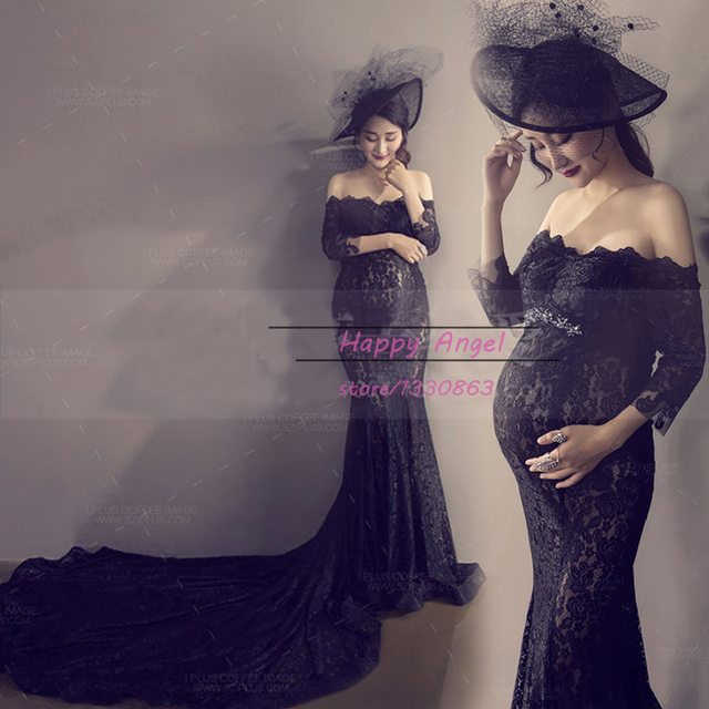 2c3a351f62124 New Mermaid Maternity Long trail Black Lace Dress Romantic Pregnant  Photography Props Fancy Photo Shoot Free