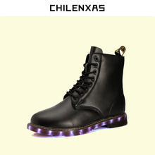 CHILENXAS Winter Large Size 35-46 Lovers USB Charger Led Light Unisex Casual Leather Shoes Men Breathable Ankle Boots Lace-up