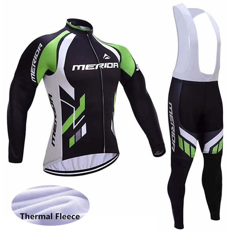 2019 New MERIDA Pro Men Cycling Jersey Winter Thermal Fleece Road Bike Clothing Set Sportswear MTB Bicycle bib/pants Suit