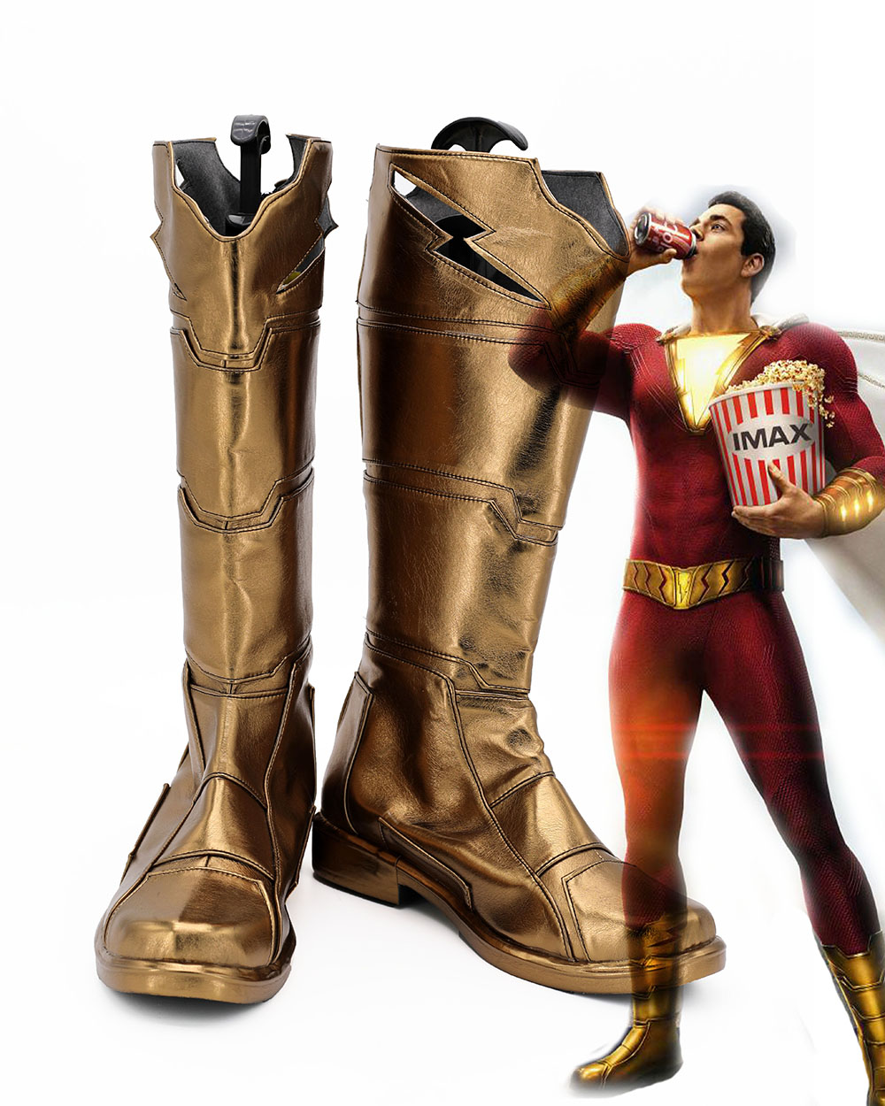 Captain Marvel Shazam Cosplay Hot Movie Shazam Billy Batson Cosplay Boots Superhero Golden Shoes Custom Made