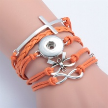 12 Styles fit 18MM Snap Button Bracelets Multilayers Leather Infinity Heart Owl Cross LOVE Charms Bracelet Women Jewelry NSB036