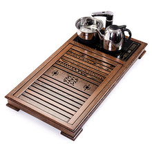 лучшая цена solid wood tea tray Four in one electric tea stove chicken wing wood Kung Fu tea set home large drainage tea table