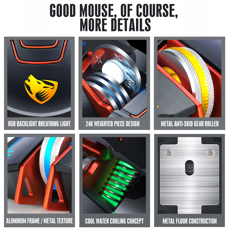 Professional Gaming Mouse 3200DPI Optical USB Wired Computer Mouse Gamer LED Mice Game Mouse Ergonomic Mause For Laptop PC in Mice from Computer Office