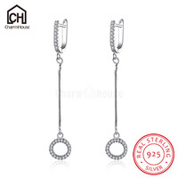 Circle Pendant Earrings For Women Long Tassel Drop Earring 925 Sterling Silver Jewelry Ear Cuff Earrings
