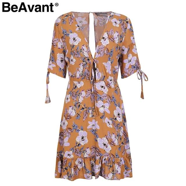 BeAvant Sexy ruffle floral print boho dress women Sexy v neck short sleeve mini dress Chic summer dress robe femme streetwear