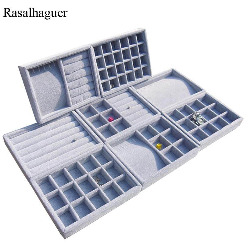 Nueva llegada DIY caja de joyería cajón organizador de almacenamiento gris suave terciopelo joyería pendiente COLLAR COLGANTE pulsera bandeja 9 opciones