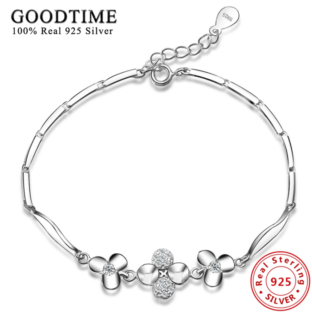 925-sterling-silver Bracelets For Women Trendy Lucky Clover Bracelets Bangles Real Solid Silver 925 Jewelry Valentine's Day Gift