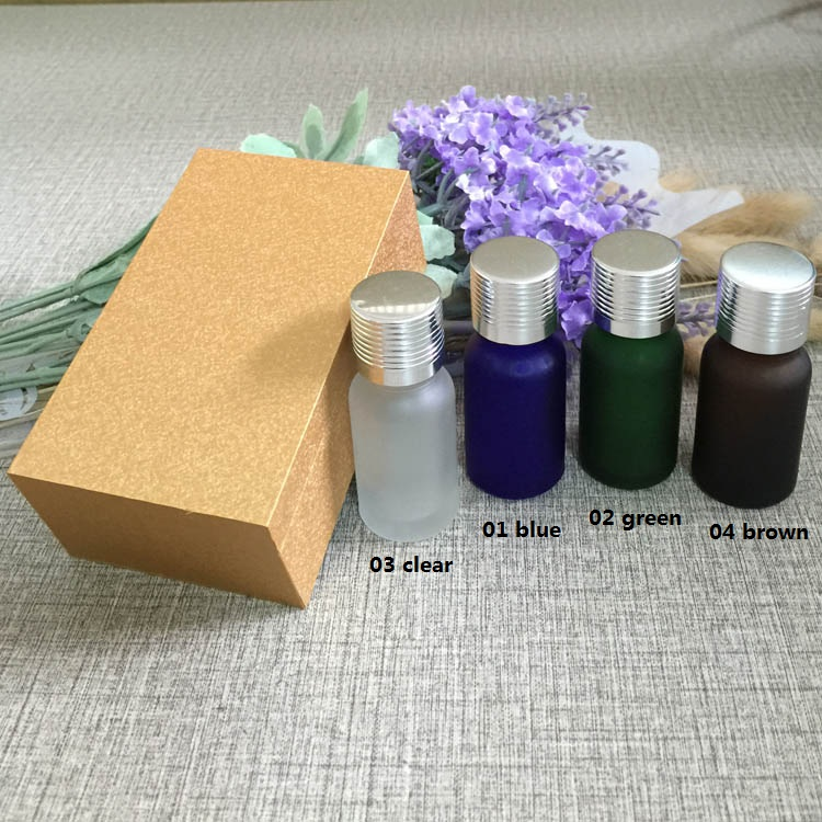 4pcs 10ml High-grade frosted essential oil bottle with wooden box packing silver cap glass bottle,lotion cosmetics powder jar creativity essential oil blend true botanical 100% pure and natural undiluted high quality therapeutic grade blend of rosemary clary sage hyssop marjoram cinnamon 5 ml