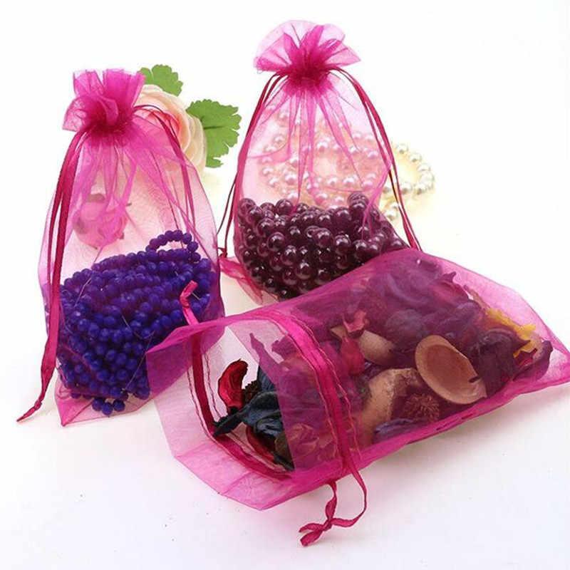 50 шт органза мешочки для украшений подарочная упаковка тянущаяся органза сумки пакеты для свадебных подарков органза марли элемент 5Z