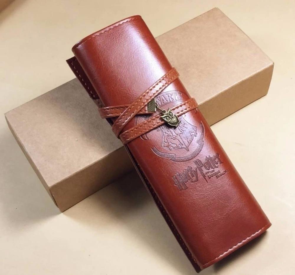 New Harri Potter Hogwarts Cosmetic Bag Cosplay Leather Pen Bag Hogwarts School Badge Pencil Bag 20*18.5cm With Box