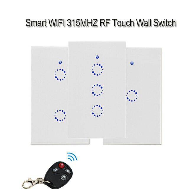 Sonoff T1 nos Wifi inteligente interruptor de pared 1/2/3/pandilla trabajo con Alexa Google Touch interruptor con control remoto RF de 315 MHZ