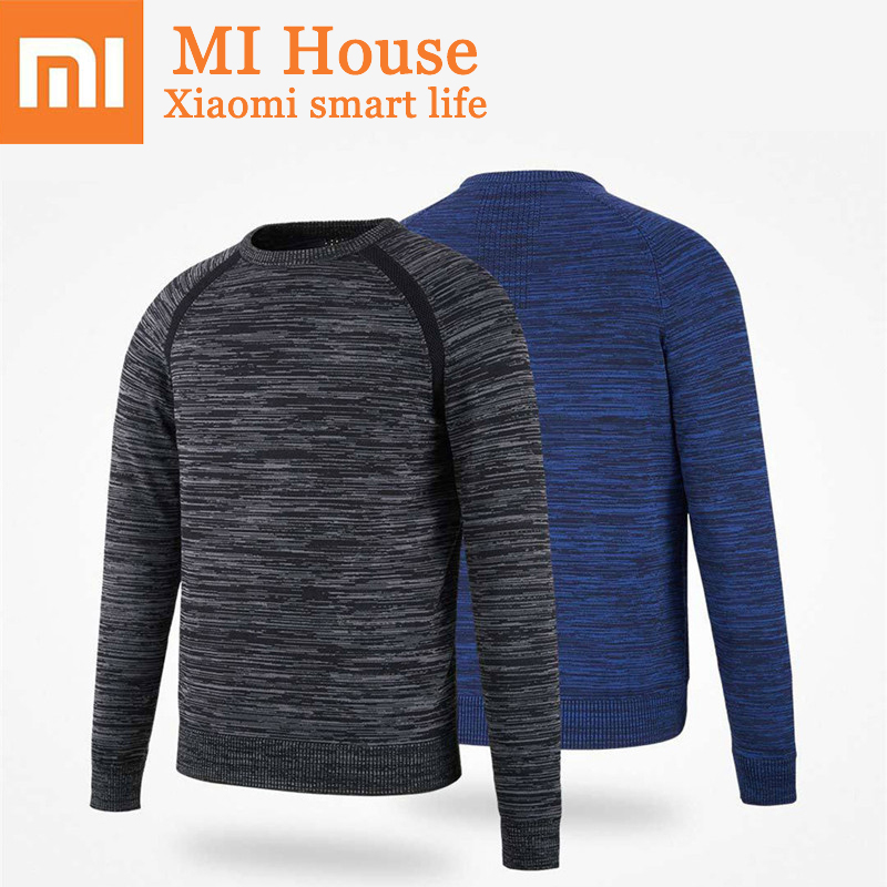 Xiaomi MITOWN New Autumn Winter Men Fly Knit Elastic Sweater Jumper Crewneck O-Neck Warm Light Fashion Sweater Pullovers Shirt cowl neck knit blends drawstring sweater