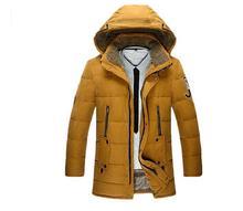Men Padded Coat 2016 Winter Mens Parkas High Quality Thick Hoodied  Long Black Blue Khaki Male Jacket