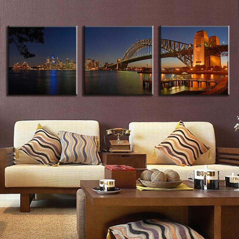 3 Teile/satz Landschaft Sydney Harbour Brücke Nacht Malerei ...