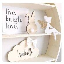 INS домашний декор деревянные фигурки в форме кролика украшения детской комнаты наклейки на стену