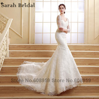 2015 Fashion Ivory Backless Beaded Lace Long Wedding Dresses Elegant Sweep Train Bridal Gowns Dresses Real