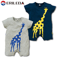 Baby Rompers Giraffe Cartoon Short Sleeve Cotton Jumpsuit Baby Boy Summer Clothing Navy Grey
