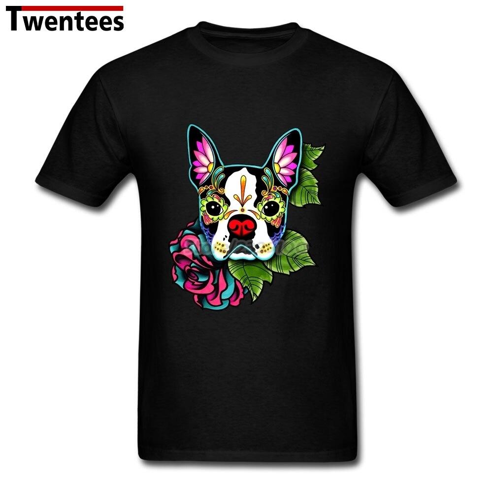 Couple t shirt design white - Boston Terrier Day Of The Dead Sugar Skull Dog T Shirt For Men Latest Design