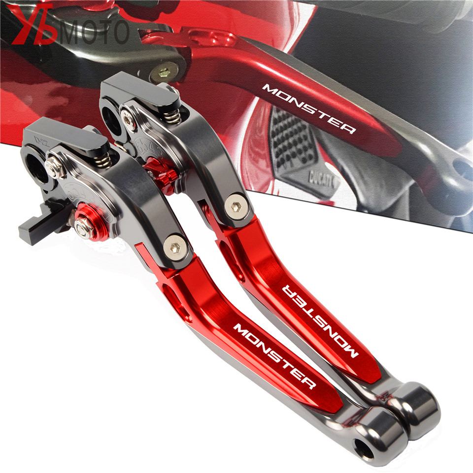 Red Titanium Lever For DUCATI MONSTER 696 796 695 620 400 Motorcycle CNC Foldable Extendable Brakes