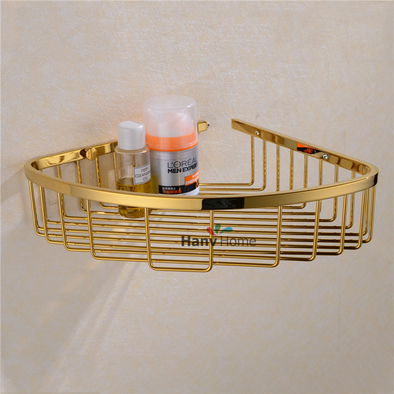 Stainless Steel Pvd Ti Golden Bathroom Shelf Bracket Shelves Basket Shower Corner Storage Caddy