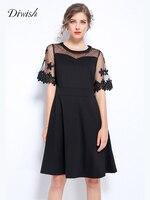 Diwish Sexy Black Mesh Dress Elegant Princess Dress Women 2019 Plus Size Women Summer Dress Fashion O Neck High Waist A Line