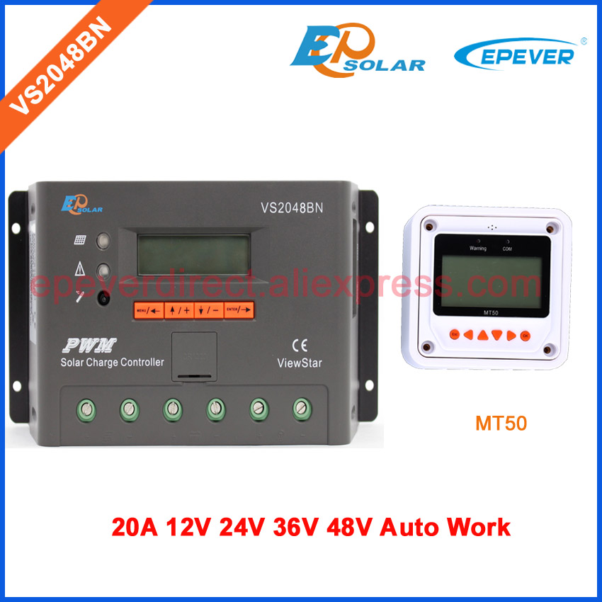 VS2048BN 20A controller for solar panel 12V 24V 36V 48V system auto work with MT50 remote meter PWM regulator 20amp solar power charger regulator tracer5206bp with mt50 remote meter in black color 12v 24v auto work 20a 20amp free shipping