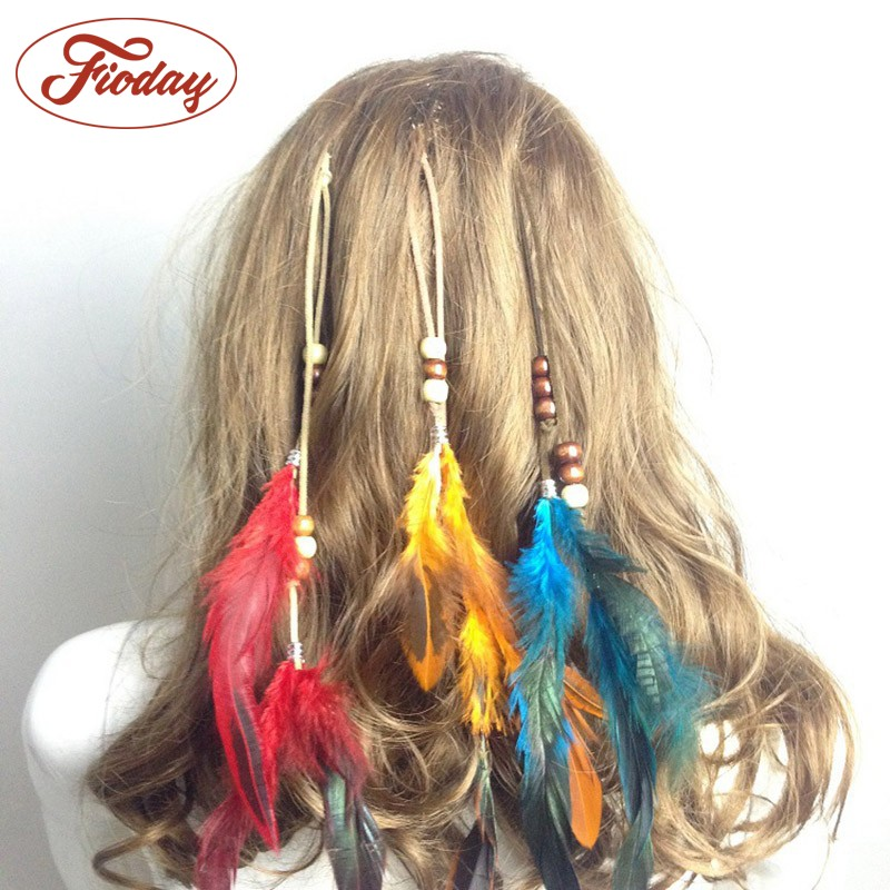 Hot Bohemian Feather Headband Festival Women Peacock Rope Indian Hair Accessories Handmade Ethnic Plume Drop Beads Hair Band