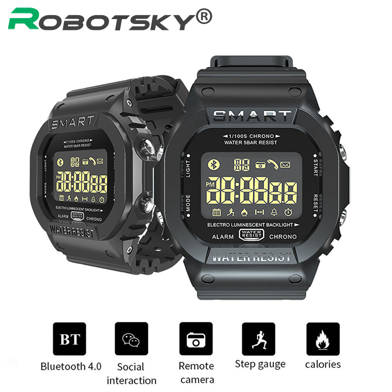 Robotsky EX16T Smart Watch Men 5ATM Waterproof 18 Month Standby Bluetooth Smartwatch Remote Control Sports Pedometer Watches