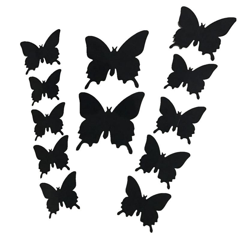 12Pcs/lot New 3D Butterfly / Flower / Bat Wedding Decoration / PVC Wall Sticker Decals Kid Room Home Decor Adesivo De Parede