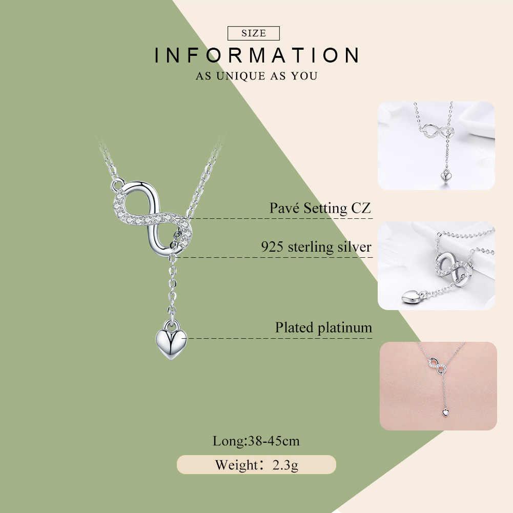 BAMOER gorąca sprzedaż 100% 925 srebro nieskończoność wieczna miłość łańcuszek wisiorek naszyjniki dla kobiet srebro biżuteria SCN223