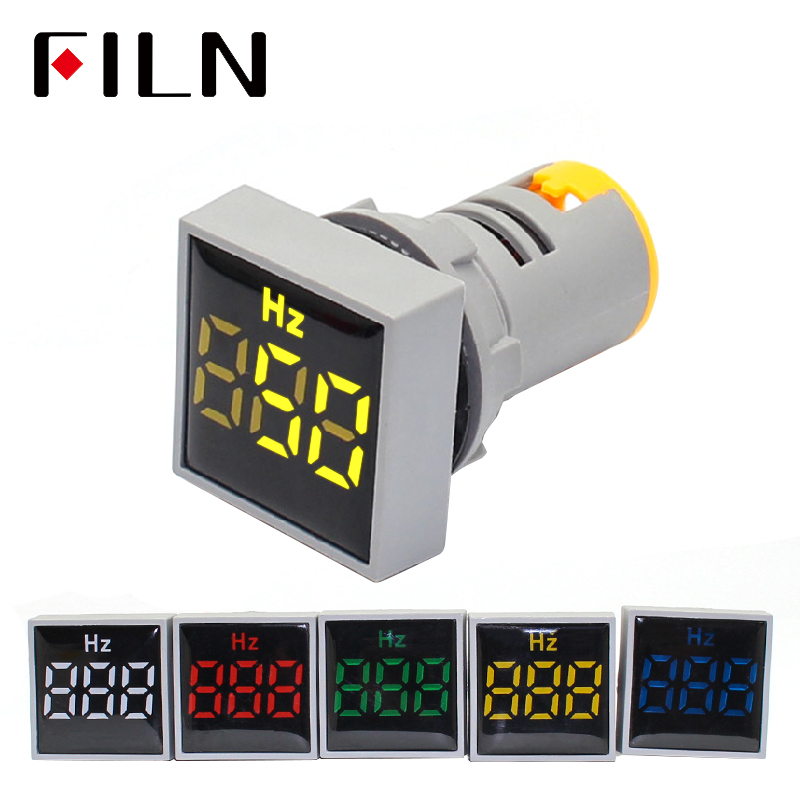 22mm AC 20-500V LED Digitial Display Red Green Yellow Blue White Hertz Indicator Light 2 In 1 Panel Round Polit Lamps