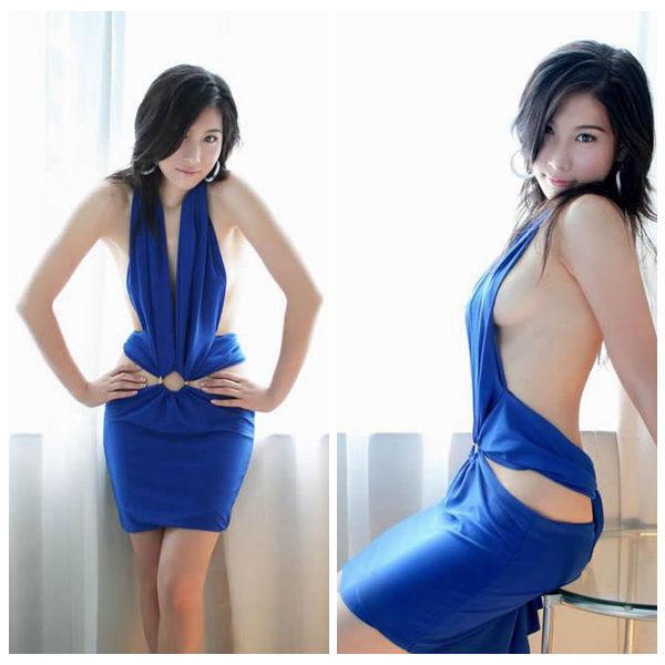 Blue dress porn