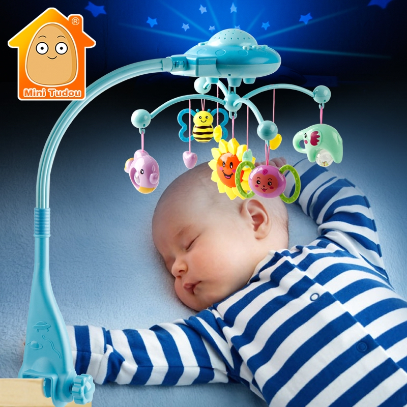 Infant Toys For 0-12 Months Crib Mobile Musical Bed Bell With Sky Stars Projection Baby Battles Early Learning Kids Toy
