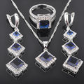 Square Blue Stone Cubic Zirconia Women's 925 Sterling Silver Jewelry Sets Earrings/Pendant/Necklace/Rings Free Shipping QZ033